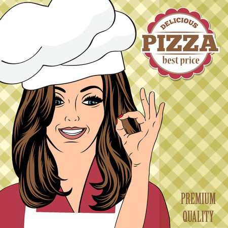 female chef: pizza advertising banner with a beautiful lady, vector format Illustration