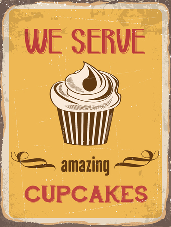 metal sign: Retro metal sign We serve amazing cupcakes  Illustration