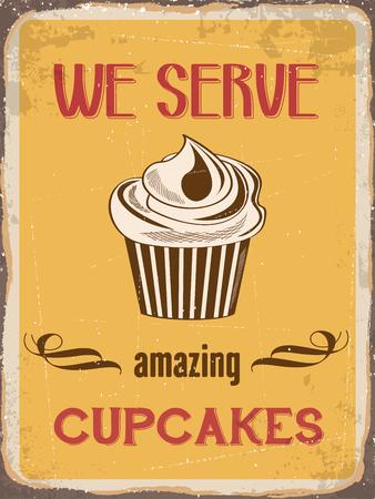 metal sign: Retro metal sign We serve amazing cupcakes  Illustration