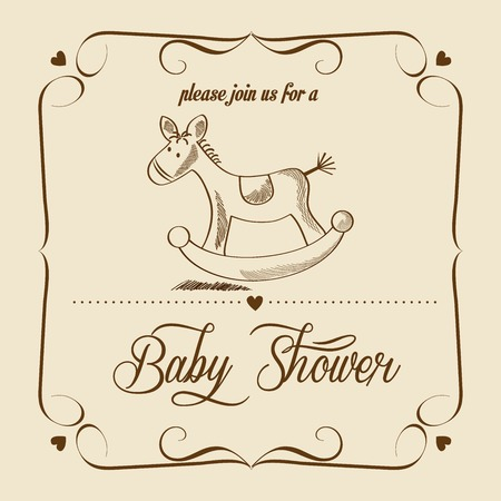 baby toy: baby shower card with retro toy, vector illustration