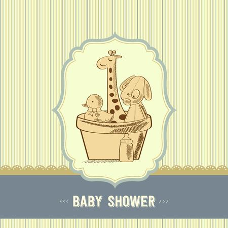 background colors: baby shower card with retro toys, vector illustration Illustration