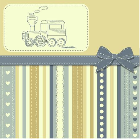 baby toy: new baby  announcement card with retro toy, vector illustration