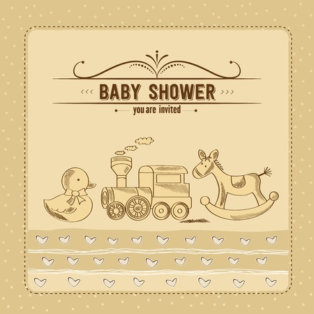 sweet background: baby shower card with retro toys, vector illustration Illustration