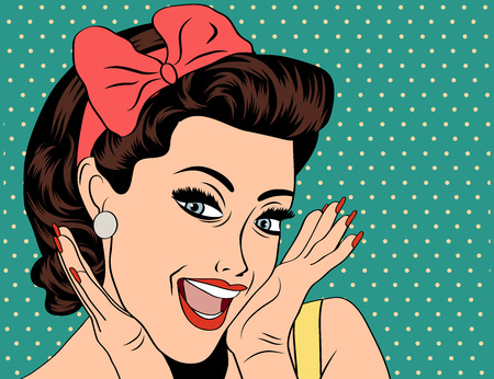 pin up vintage: Pop Art illustrazione di ragazza. Pop Art Girl. Partito invito. Auguri di compleanno manifesto card.Vintage pubblicit�. Moda donna