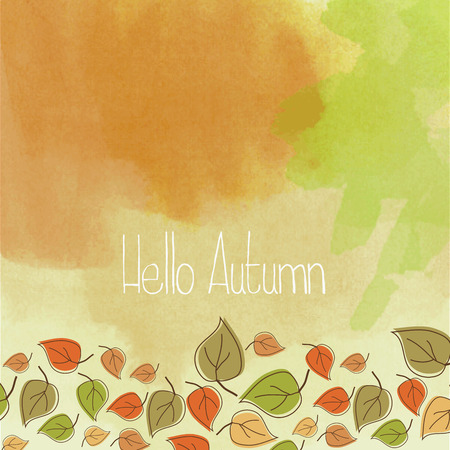 vector eps10: hello autumn, watercolor vector eps10