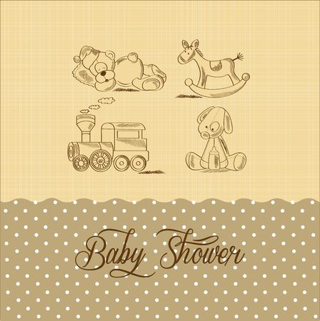 vintage baby: baby shower card with retro toys, vector illustration Illustration