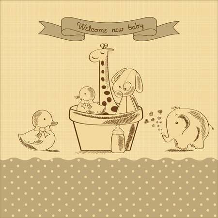 baby shower card with retro toys, vector illustration Иллюстрация