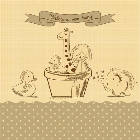 battesimo: doccia Baby card con retrò giocattoli, illustrazione vettoriale Vettoriali