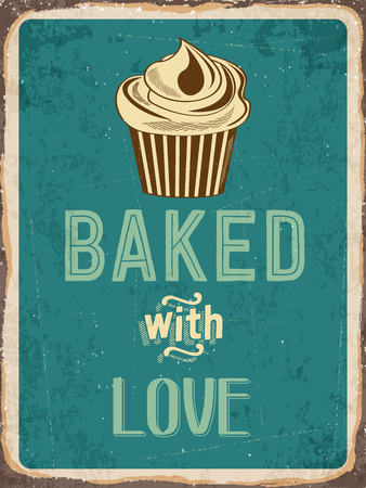 metal sign: Retro metal sign Cupcakes - baked with love