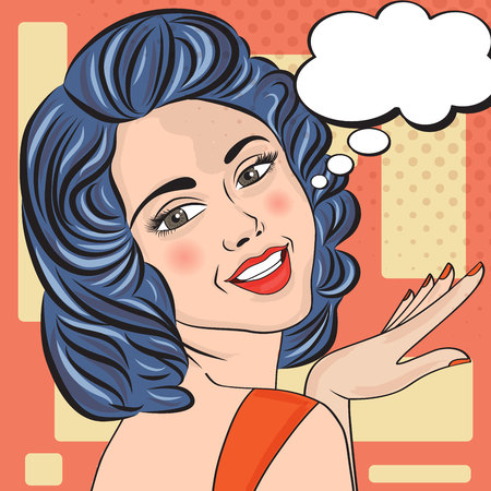 speech bubble vector: Pop Art illustration of woman with the speech bubble, vector format