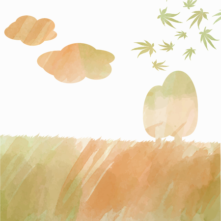 double exposure: double exposure watercolor autumn landscape, vector format