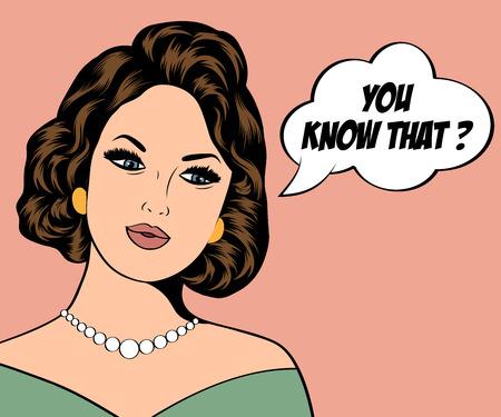 mujer: Ilustración del arte pop de la muchacha con el discurso bubble.Pop Arte chica. Invitación de la fiesta. Saludo de cumpleaños cartel publicitario card.Vintage. Forme a la mujer con la burbuja del discurso.