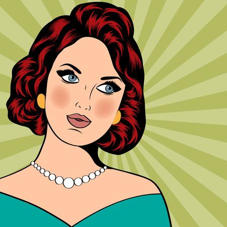Pop Art illustration of girl. Pop Art girl. Party invitation. Birthday greeting card. Vintage advertising poster. Vettoriali