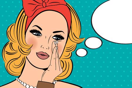 Ilustración del arte pop de la muchacha con el discurso bubble.Pop Arte chica. Invitación de la fiesta. Saludo de cumpleaños cartel publicitario card.Vintage. Forme a la mujer con la burbuja del discurso. Foto de archivo - 46573607