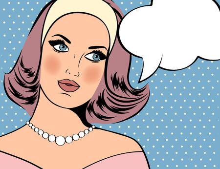 feminino: Ilustração da arte pop da menina com o discurso bubble.Pop Art menina. Convite do partido. Do aniversário do cartaz da propaganda card.Vintage. Mulher da forma com balão de fala. Ilustração
