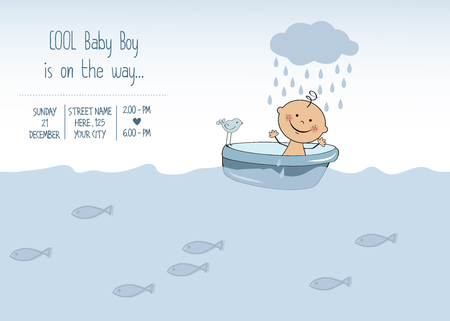 cute baby: baby boy shower card, vector eps10 Illustration