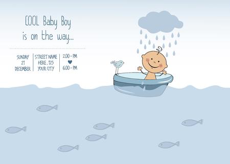 baby boy shower card, vector eps10 Illustration