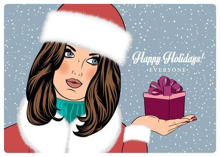 woman in fur coat: beautiful woman in the winter wishing Happy Holidays