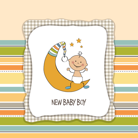 baby boy shower card, vector eps10 Illustration