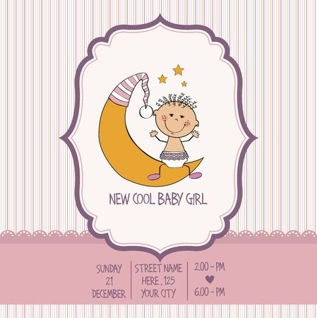 cute baby girls: baby girl shower card, vector eps10