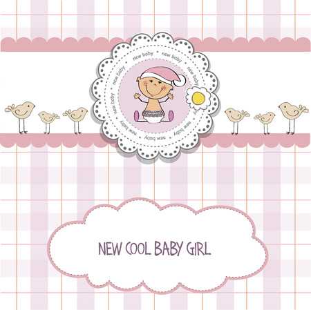 specifically: baby girl shower card, vector eps10