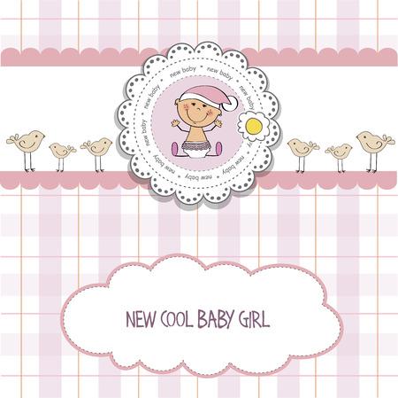 nice girl: baby girl shower card, vector eps10