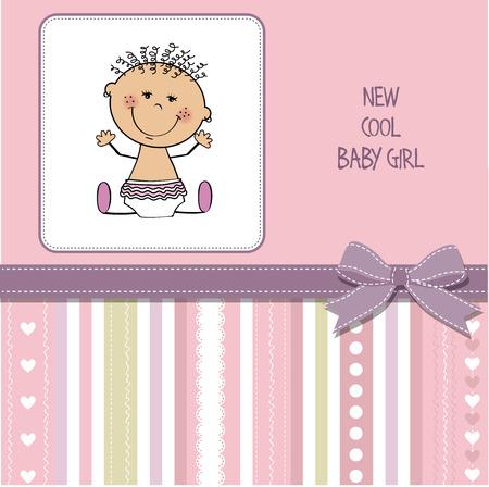thrilled: baby girl shower card, vector eps10