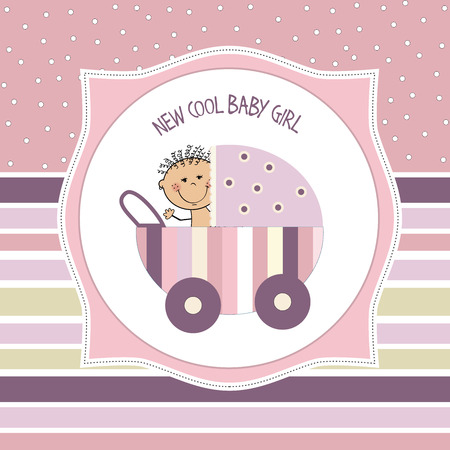 baby girl shower card, vector eps10