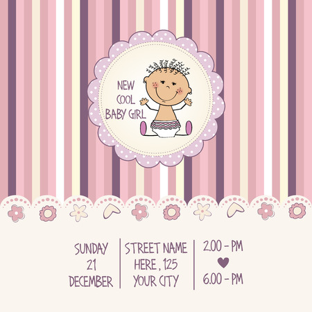cool girl: baby girl shower card, vector eps10