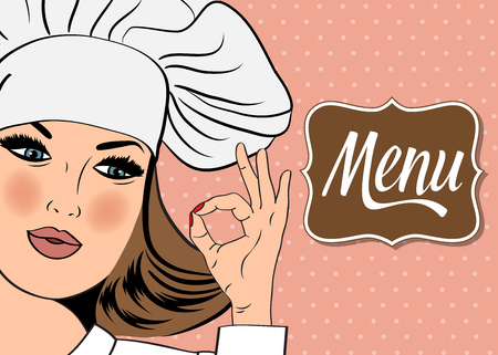 ok hand: Sexy  chef woman in uniform  gesturing ok sign with her hand, vector format. Menu Illustration