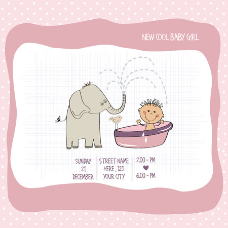 vector eps10: baby girl shower card, vector eps10