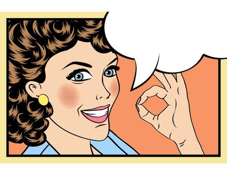 historietas: mujer del arte pop retro lindo en estilo cómic con el signo de OK. ilustración vectorial