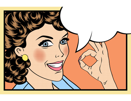 ok: pop art cute retro woman in comics style with OK sign. vector illustration Illustration