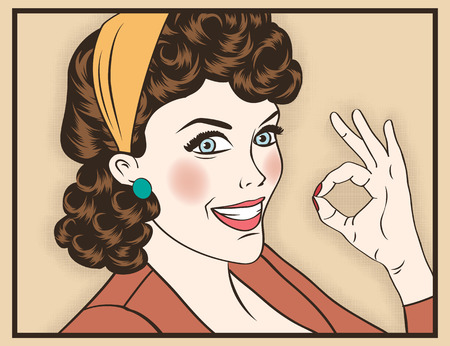 ok sign: pop art cute retro woman in comics style with OK sign. vector illustration Illustration