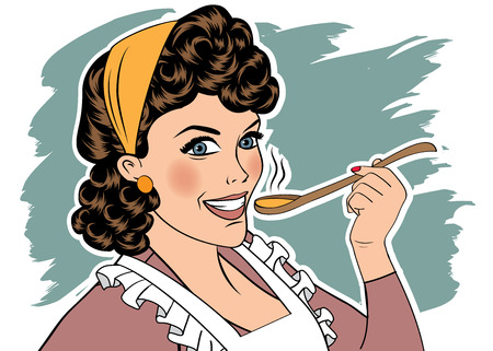 homemakers: pop art retro woman with apron tasting her food. vector illustration