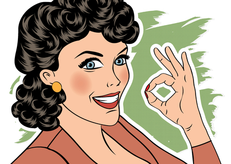 woman smile: pop art cute retro woman in comics style with OK sign. vector illustration Illustration