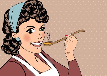 ama de casa: pop mujer del arte retro con delantal saboreando su comida. ilustración vectorial