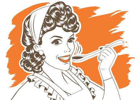 fifties: pop art retro woman with apron tasting her food. vector illustration
