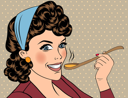 retro woman: pop art retro woman with apron tasting her food. vector illustration