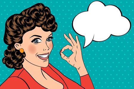 retro illustration: pop art cute retro woman in comics style with OK sign. vector illustration Illustration