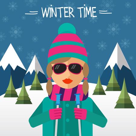 vector illustration: Hipster girl skier in flat style. Vector illustration.