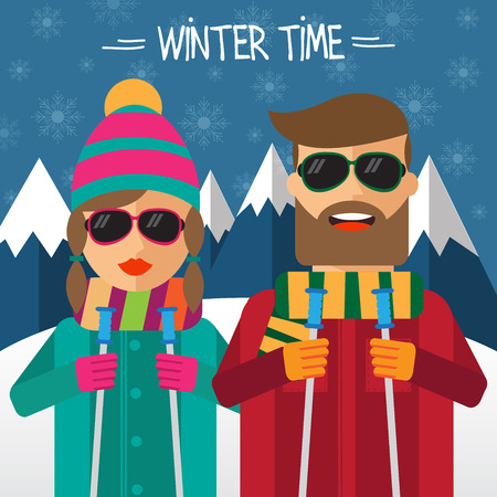 men cartoon: Hipster couplel skiers in flat style. Vector illustration. Illustration