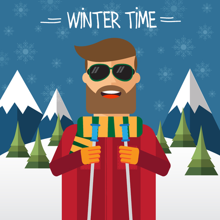 sunglasses cartoon: Hipster skier in flat style. Vector illustration.
