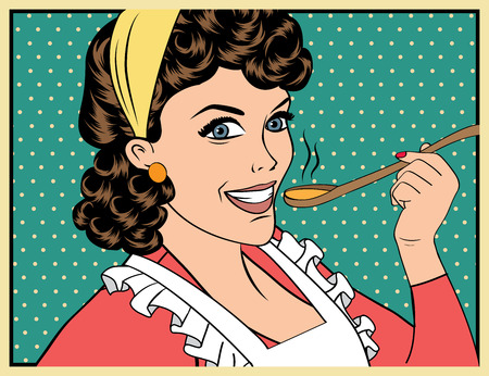 cooker: pop art retro woman with apron tasting her food. vector illustration