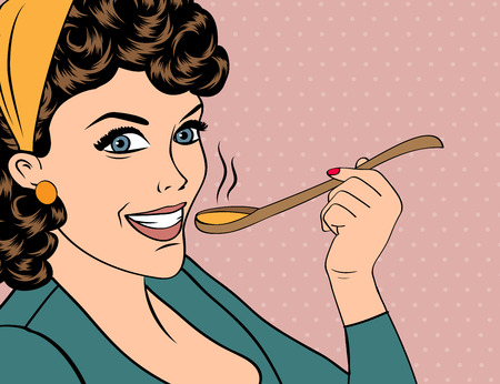 tasting: pop art retro woman with apron tasting her food. vector illustration