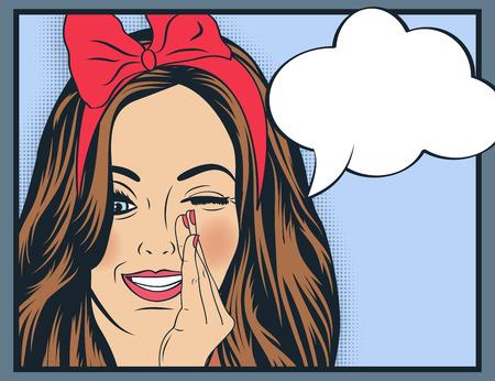 Ilustración del arte pop de la muchacha con el discurso bubble.Pop Arte chica. Invitación de la fiesta. Saludo de cumpleaños cartel publicitario card.Vintage. Forme a la mujer con la burbuja del discurso.
