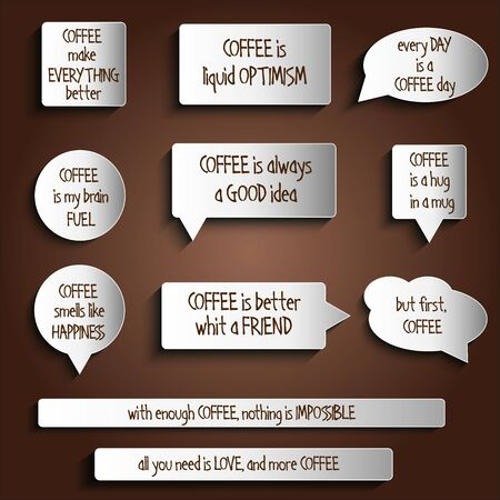 weblog: tags, labels, buttons, stickers with message about coffee, vector format