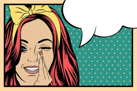 pin up vintage: Pop Art illustrazione della ragazza con il discorso bubble.Pop Art ragazza. Partito invito. Auguri di compleanno manifesto card.Vintage pubblicità. Donna di modo con la nuvoletta.