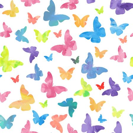 Seamless watercolor butterflies pattern.