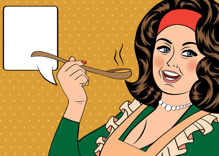 homemakers: pop art retro woman with apron tasting her food.
